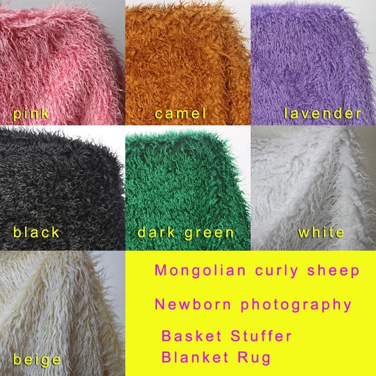 Tela mongol rizada de piel sintética de oveja recién nacido accesorios de fotografía falsa canasta de lana manta de relleno alfombra tamaño 100x75cm