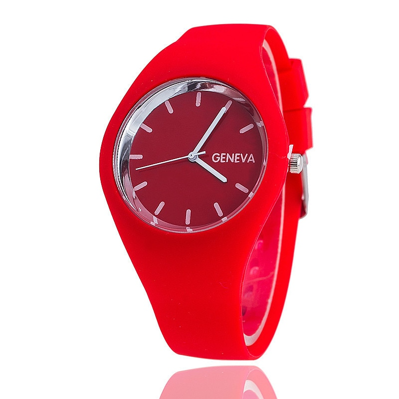 Geneva Luxury Brand Women Watches Waterproof Faux Silicone  Quartz Analog Ladies Dress Men's Wrist W