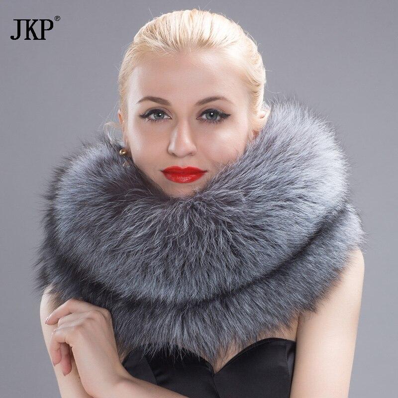 أصيل الثعلب الفراء محبوك متعدد الألوان وشاح المرأة طوق جلد طبيعي المغناطيسي مشبك الشتاء الأزياء طوق حلقة HW-10