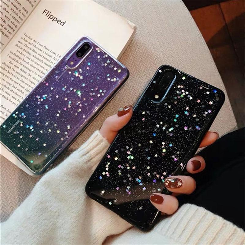 Funda de teléfono de estrella brillante completa para Huawei p30 10pro20 9 8 Lite Mate20pro Nova3i funda transparente Anti-caída carcasas de cristal brillante
