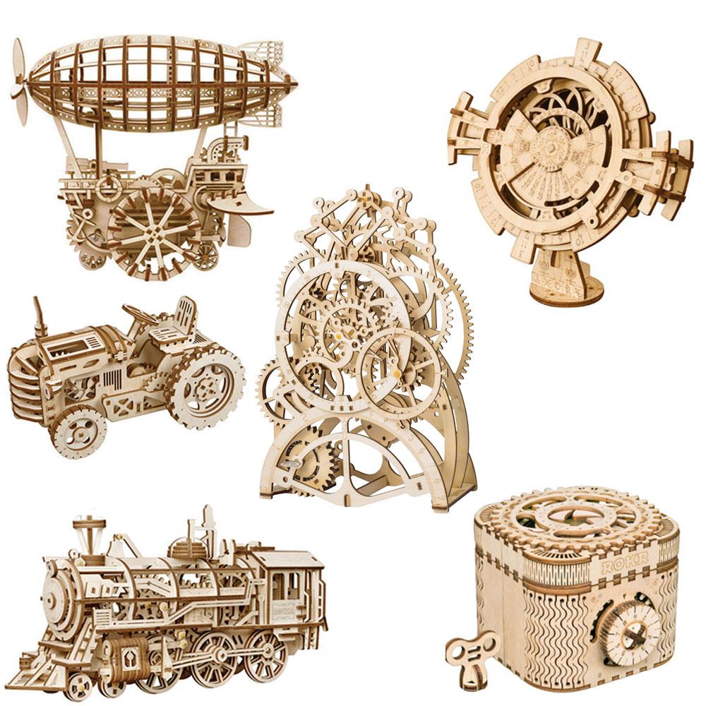 Robotime ROKR DIY 3D Wooden Puzzle Mechanical Gear Drive Model Building Kit Toys Gift for Children Adult Teens