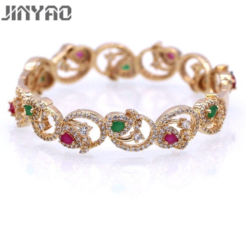 JINYAO Lindo Champagne da Cor do Ouro Verde & Red AAA Cubic Zircon Bracelet Bangle Para Mulheres Presente