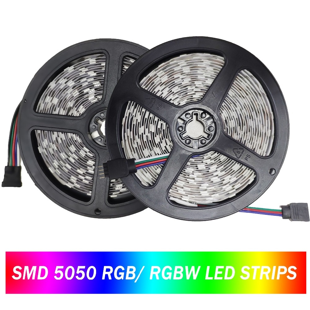 Tira LED 5050 60 ledes/m DC12V RGB RGBW luz LED Flexible tira de LED impermeable cinta TV lámpara de luz de fondo 300 ledes 5 m/lote