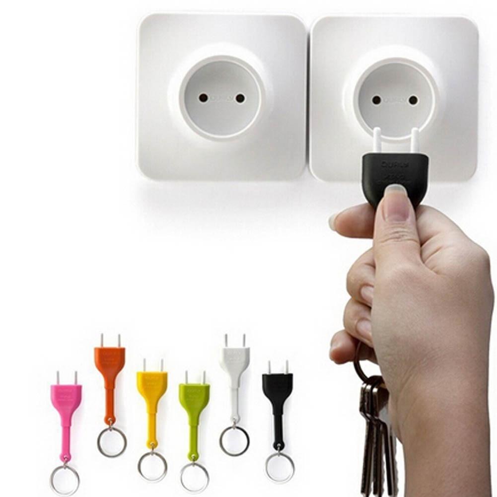 Random Color 2Pcs Cute Home Wall Decroation Design Unplug Keyring EU Plug Socket Keychain Key Ring Holder Drop Shipping