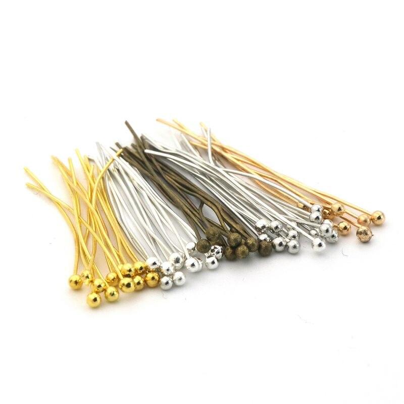 Agulhas coloridas de cabeça de bola de metal, agulhas para fazer jóias, acessórios de mão, faça você mesmo, 200 pçs/lote 25 30 40 50mm atacado por atacado