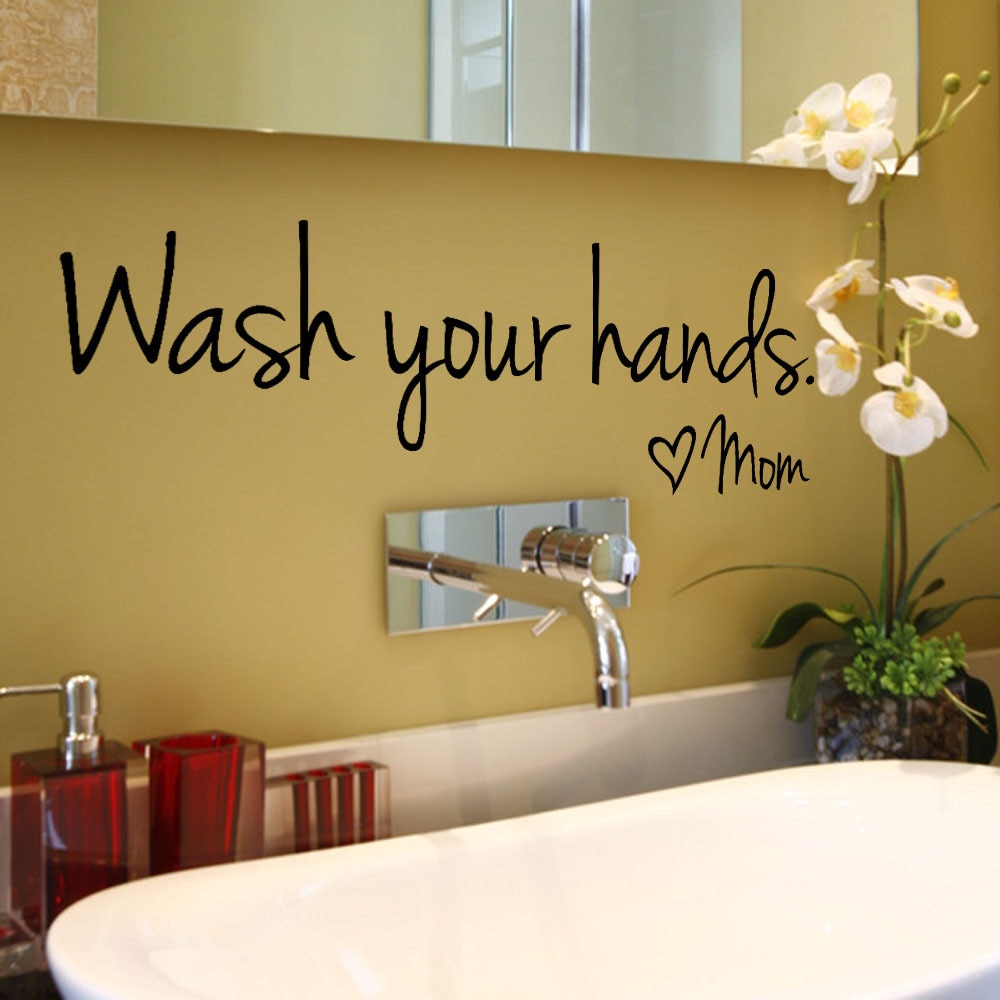 bathroom Wall Stickers Spanish French German Dutch -Wash Your Hands Love Mom -Waterproof Art Vinyl Decal Wall Glass Decor