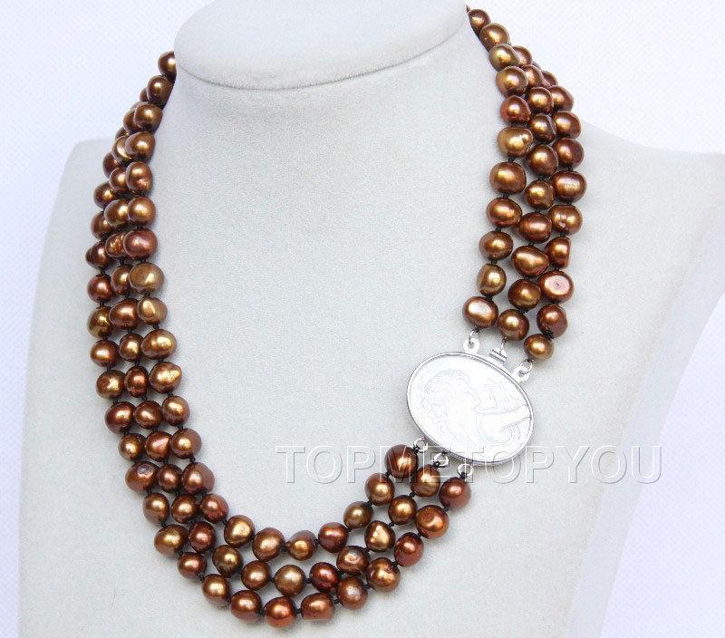 "Envío Gratis>> nueva caliente de 16 ""-18"" 3row 9mm café perlas collar de conchas broche E2750"
