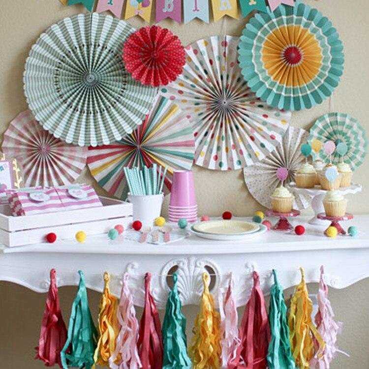 8 stücke Papier Fans Set Party Rosetten Korallen Fans Gold Baby Dusche Dekorationen 18th Geburtstag Hochzeit Engagement Party Dekorationen