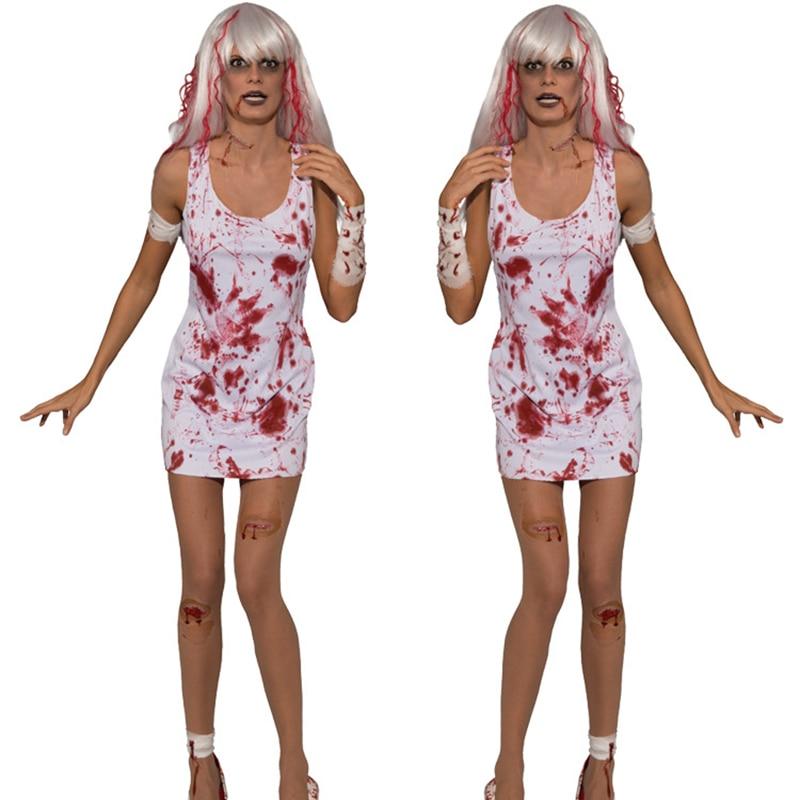 2018 nuevo Halloween horror femenino fantasma zombie juega disfraz fantasma novia sexy blanco vampiro papel jugar alta calidad nuevo Hallowe