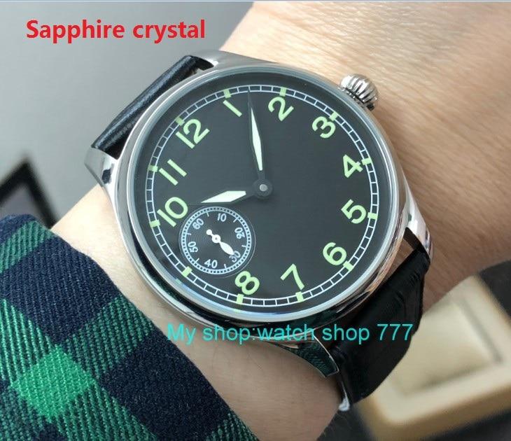 Sapphire crystal44mm no logo Asian 6497 17 jewels Mechanical Hand Wind movement men's watch luminous Mechanical watches pa87-p8