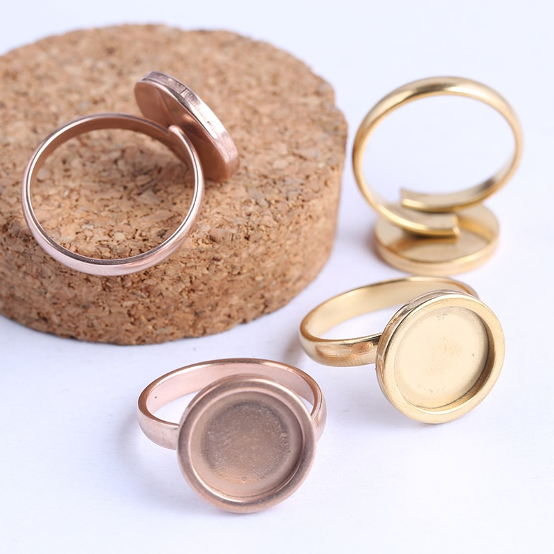 AliExpress - onwear 10pcs rose gold plated Fitting 12mm round cabochon ring blanks adjustable stainless steel base setting diy jewelry bezels
