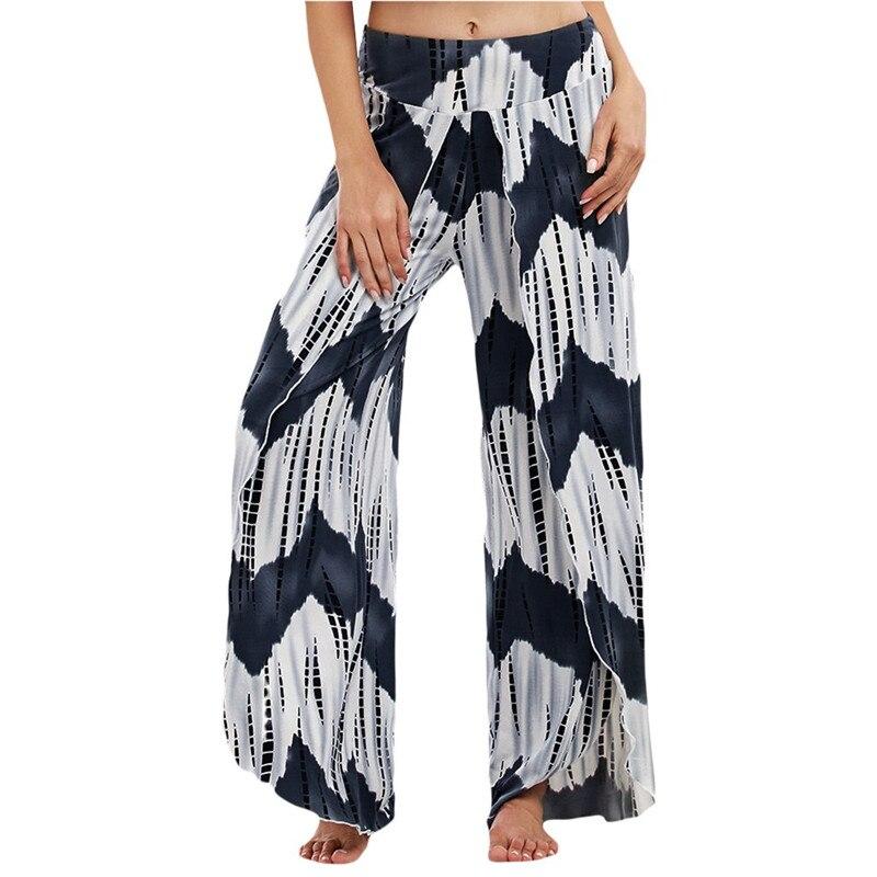 Fashion Womens Summer Leisure Tie dyeing Split Loose Long Pants Casual Mid Waist Print Wide Leg Sweatpants For Ladies FD