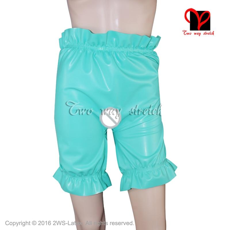 Pantalones bombachos sexis de látex con entrepierna abierta bandas elásticas pantalones cortos de goma panty Gummi frill pants baby pantalons pañal KZ-136