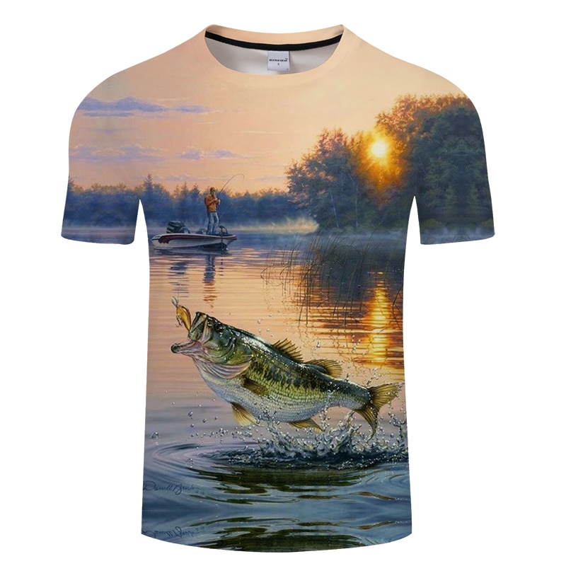 2018 new style casual Digital fish  3D Print t shirt Men Women tshirt Summer Short Sleeve O-neck Tops&Tees Asian size T-shirt