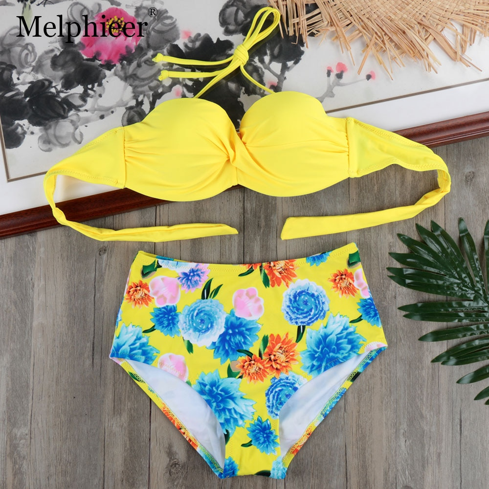Amarelo Cintura Alta Empurrar Para Cima do Biquíni Set Maiô Underwired Bandage Swimwear Praia Fatos De Banho Swim Suit Mulheres Maillot De Bain s-XXL