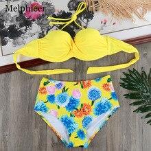 Geel Hoge Taille Push Up Bikini Set Beugel Badpak Bandage Badmode Strand Bad Zwemmen Pak Vrouwen Maillot De Bain s-XXL