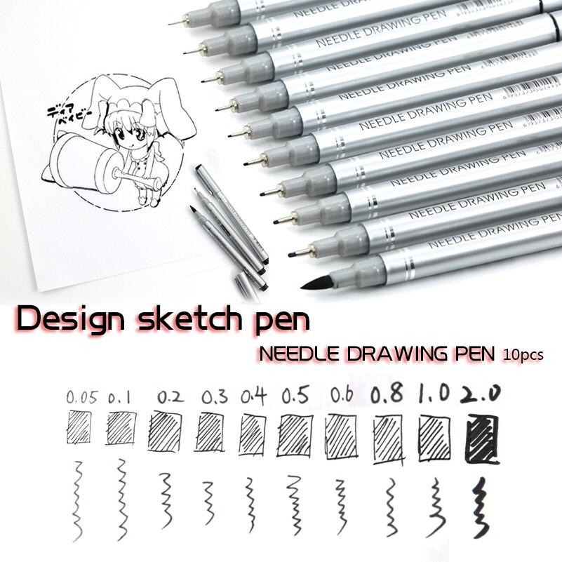 10 consejos para micras pluma de dibujo con aguja pigmentos resistentes al agua bien boceto de línea marcadores de pluma para escribir dibujo Anime plumas