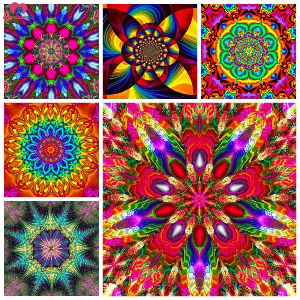 Diy 5d алмазная живопись полный квадрат/круглые аксессуары Мандала Цветы Алмазная Вышивка Полный дисплей Мозаика Украшение дом