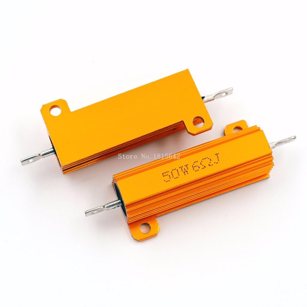 RX24 50W 6R 6RJ Metal Aluminum Case High Power Resistor Golden Metal Shell Case Heatsink Resistance Resistor 6 ohm 50w