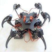 18 DOF الألومنيوم معدن Hexapod روبوت العنكبوت ستة قدم/قدم الروبوتية الإطار/الهيكل عدة لاردوينو تحكم عن بعد لتقوم بها بنفسك نموذج