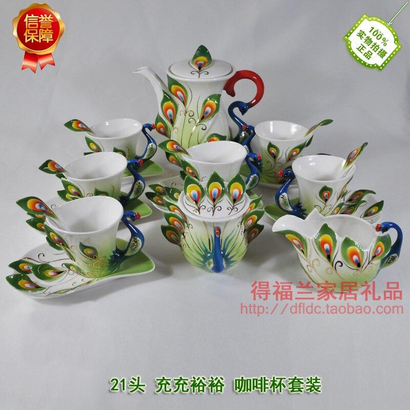 طقم شاي بورسلين على الطراز الأوروبي ، طقم شاي بورسلين على شكل طاووس ، مينا ، 9 قطع ، هدية رأس السنة الجديدة