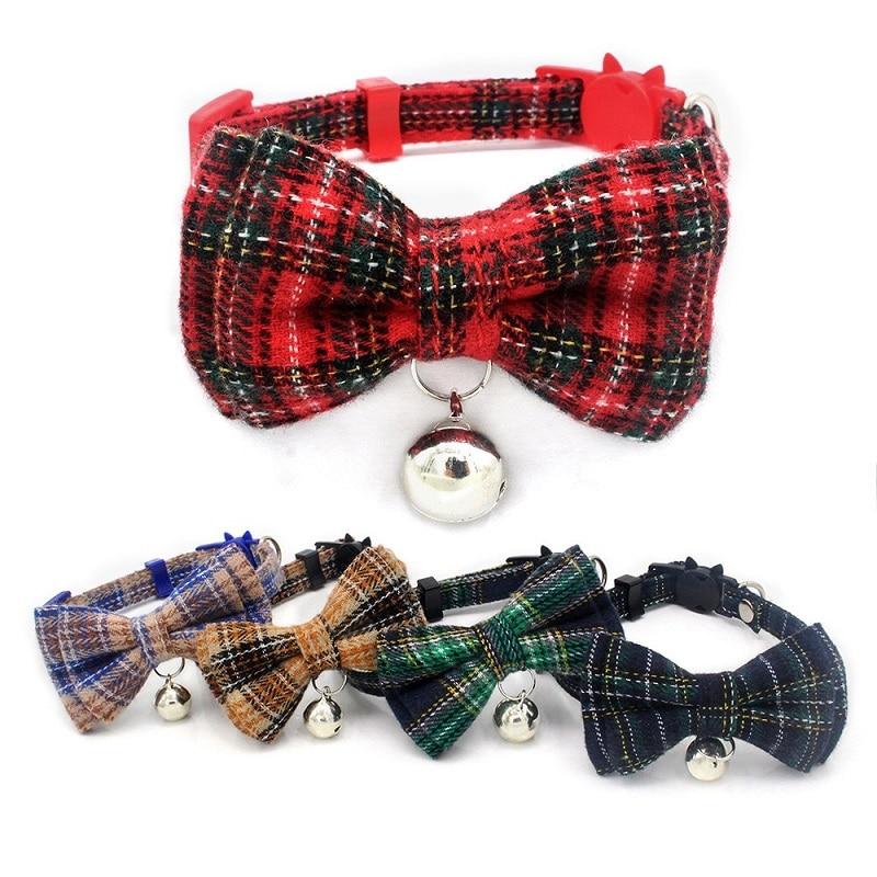 Collares ajustables para perros y gatos, collares para mascotas con campanas, producto para mascotas, algodón escocés para gatitos gatos con lazo