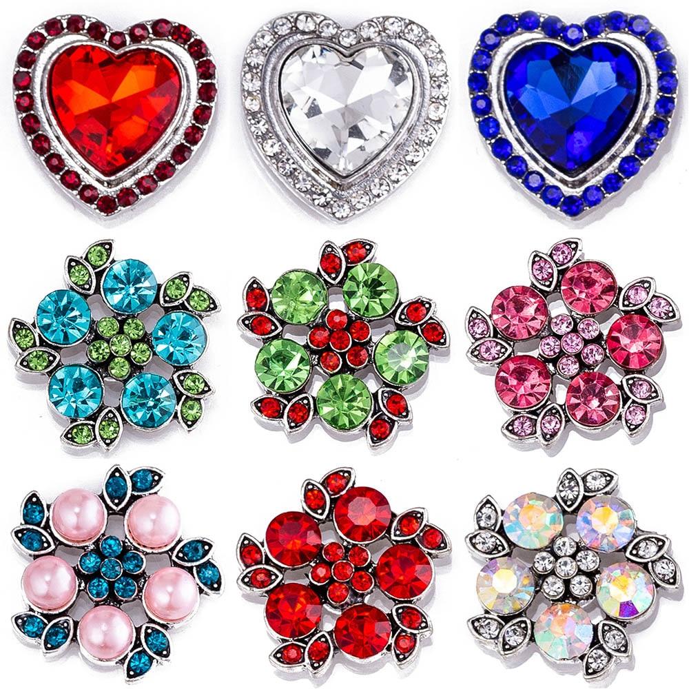 Snap button 18 mm cristal metal snaps para snaps pulseiras ajuste gengibre snaps jóias cristal snap tz9148