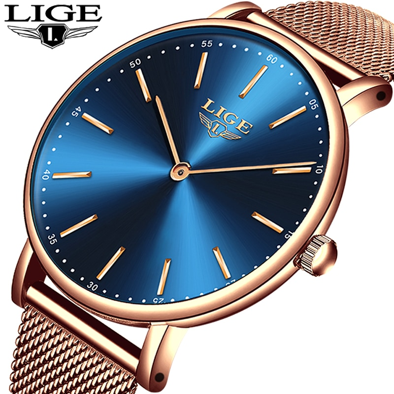 LIGE superfino, malla de oro rosa, relojes de acero inoxidable para Mujer, Reloj Casual de lujo de marca superior, Reloj de pulsera para Mujer, Reloj de Mujer