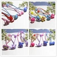 10 new mixed color cartoon cute kids girls hair bands elastic hair bands