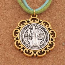 20 pièces fleur Saint benoît médaille croix entretoise perles breloque 2 tons pendentifs 37x33mm T1705