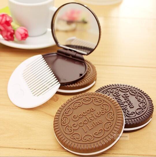 1pc Chocolate Mirror with Comb Cute Cookie Shaped Design Makeup portable folding mini miroir espelho gift