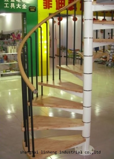 Made in China hot selling indoor steel-wood spiral staircase(LH-SC004)