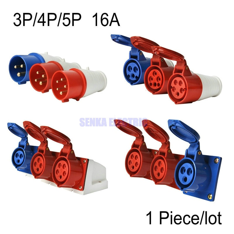 saipwell hot sale ip44 electrical outdoor socket 4p 63a sp 1241 AC 220-250V AC 380-415V 16A IEC309 IP44 Industrial Socket / Plug 3Pin/4Pin/5Pin Waterproof Male Famale Electrical Connector