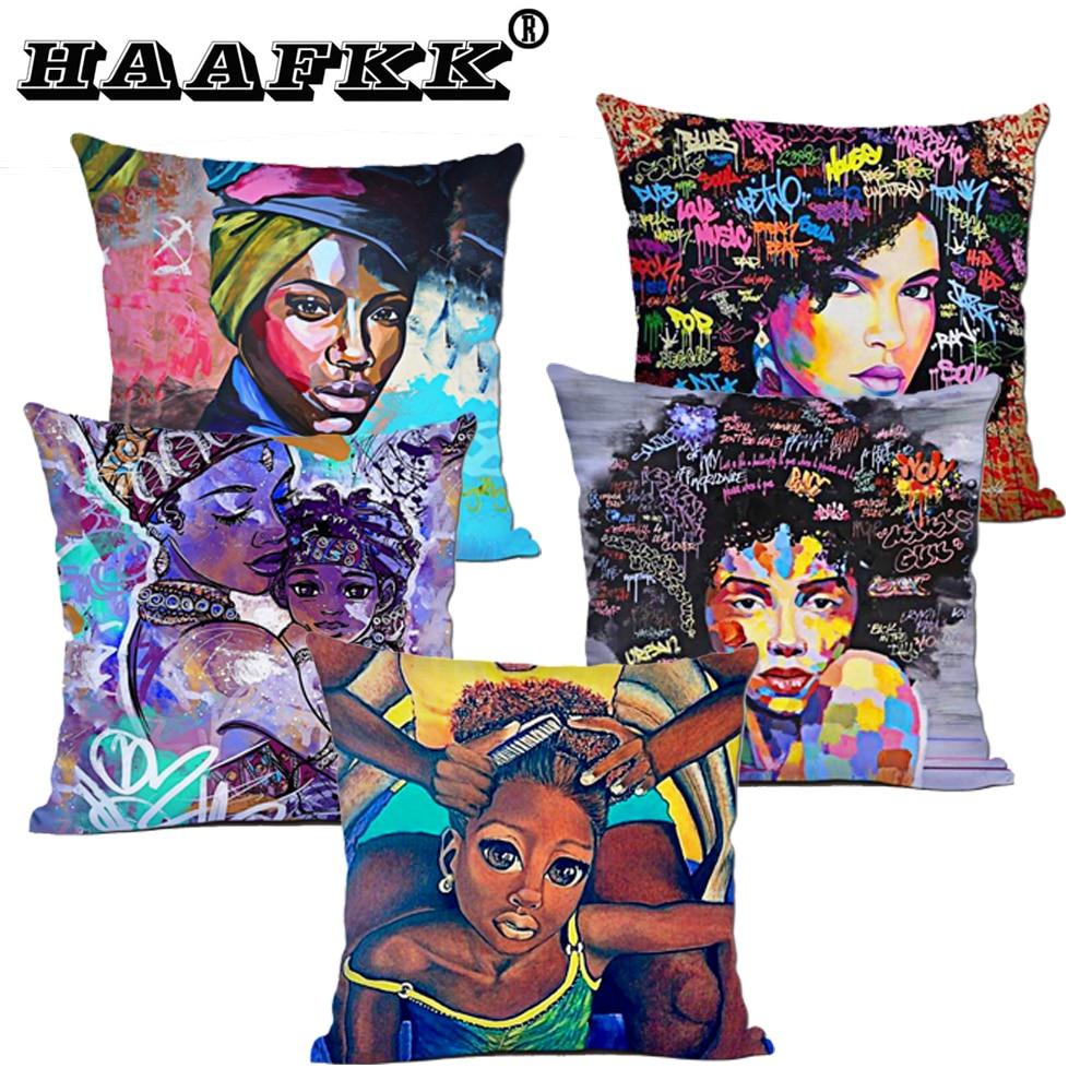 De moda funda de cojín de poliéster África belleza expresión cojín decorativo cojín almohadas para decoración de hogar cojines