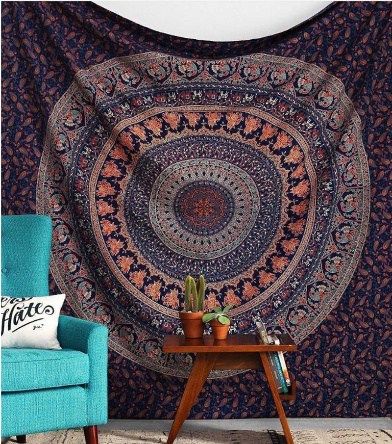 Hippie Mandala elefante colcha étnica manta bohemio psicodélico decorativo tapiz colgante de pared 150*200 cm