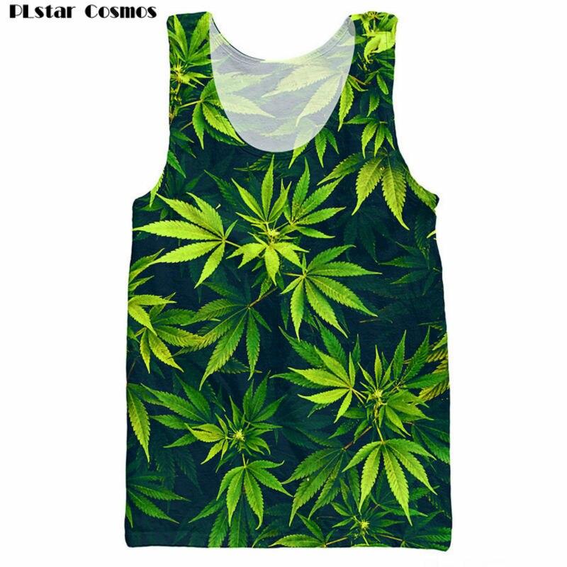 Camiseta sin mangas con estampado de camiseta sin mangas con estampado de hojas de hierba 3D de verano ropa de hombre a la moda para hombre