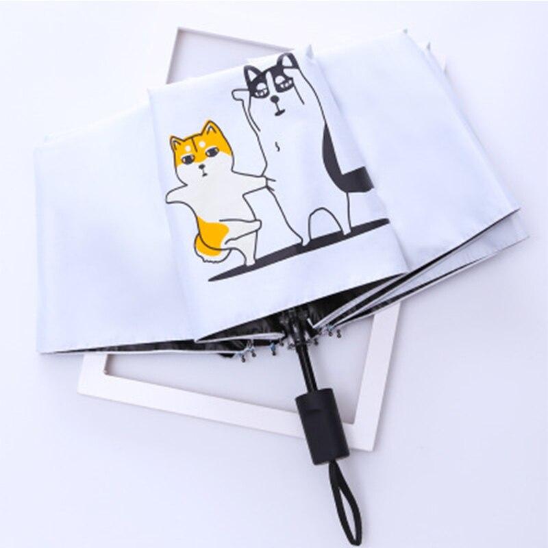 Зонт с мультипликационным принтом, двойной складной трехскладной Зонт с изображением собаки хаски, черный пластиковый зонт от солнца
