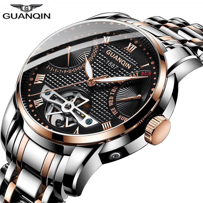 Reloj de hombre GUANQIN, reloj mecánico, impermeable, automático, Tourbillon, reloj de negocios, reloj de hombre, reloj de natación Masculino