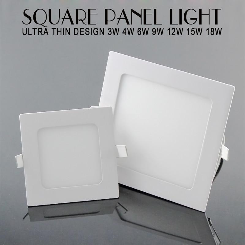 Panel Downlight Led ultrafino 3w 4w 6w 9w 12w 15w 18w luz LED empotrable de techo cuadrado Panel de luz Led SMD2835