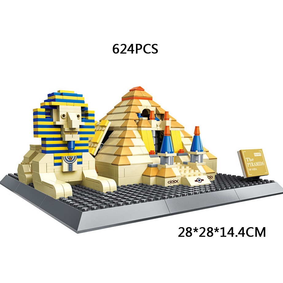 Arquitectura histórica de fama mundial, Egipto, gran pirámide de Giza, bloque de construcción, pirámide moc de Khufu sphinx, juguetes en miniatura de bloques