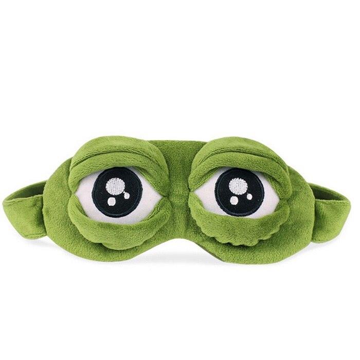 Funda de máscara de ojos bonitos felpa la triste 3D Rana máscara de ojos cubierta descanso para dormir viaje dormir Anime divertido regalo makep brush