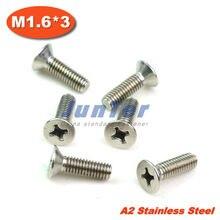 100pcs/lot DIN965 M1.6*3 Stainless Steel A2 Machine Phillips Flat Head (Cross recessed countersunk head screws) Screw