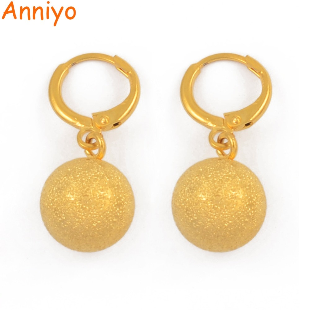 Pendientes de abalorio mate Anniyo para mujer, joyería de Color dorado, pendientes de bola redonda, africano/Árabe/Oriente Medio/regalo etíope #087806