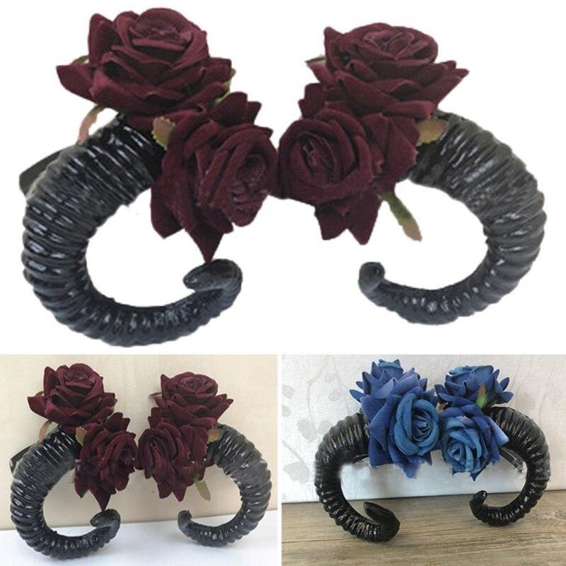 Demon Sheep Horn Rose Flower Headband Gothic Beauty Horror Halloween Party Cosplay Retro Hair  X-mas Accessories Vintage Hairpin
