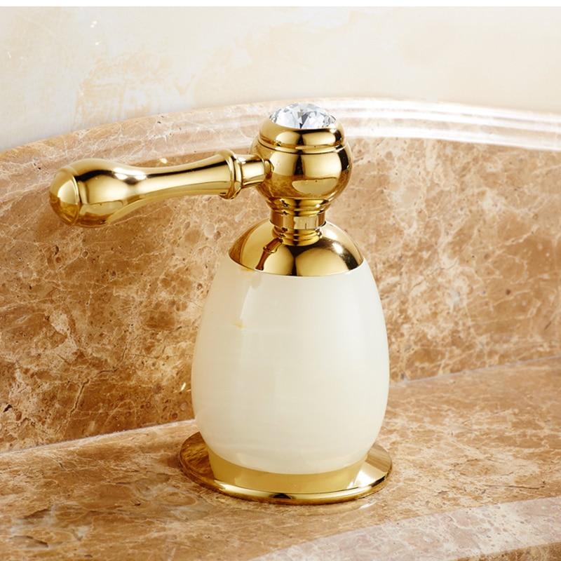 Vidric, grifo de fregadero de 3 agujeros con doble mango montado en la cubierta de oro rosa y latón Jade, grifo de cascada para baño, grifos de baño triples
