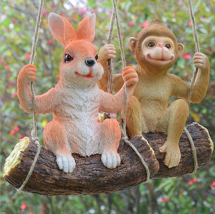 Resina para jardinería al aire libre columpio Koala Panda Animal adornos colgantes figuras de jardín de infantes artesanías patio Parque Villa Decoración
