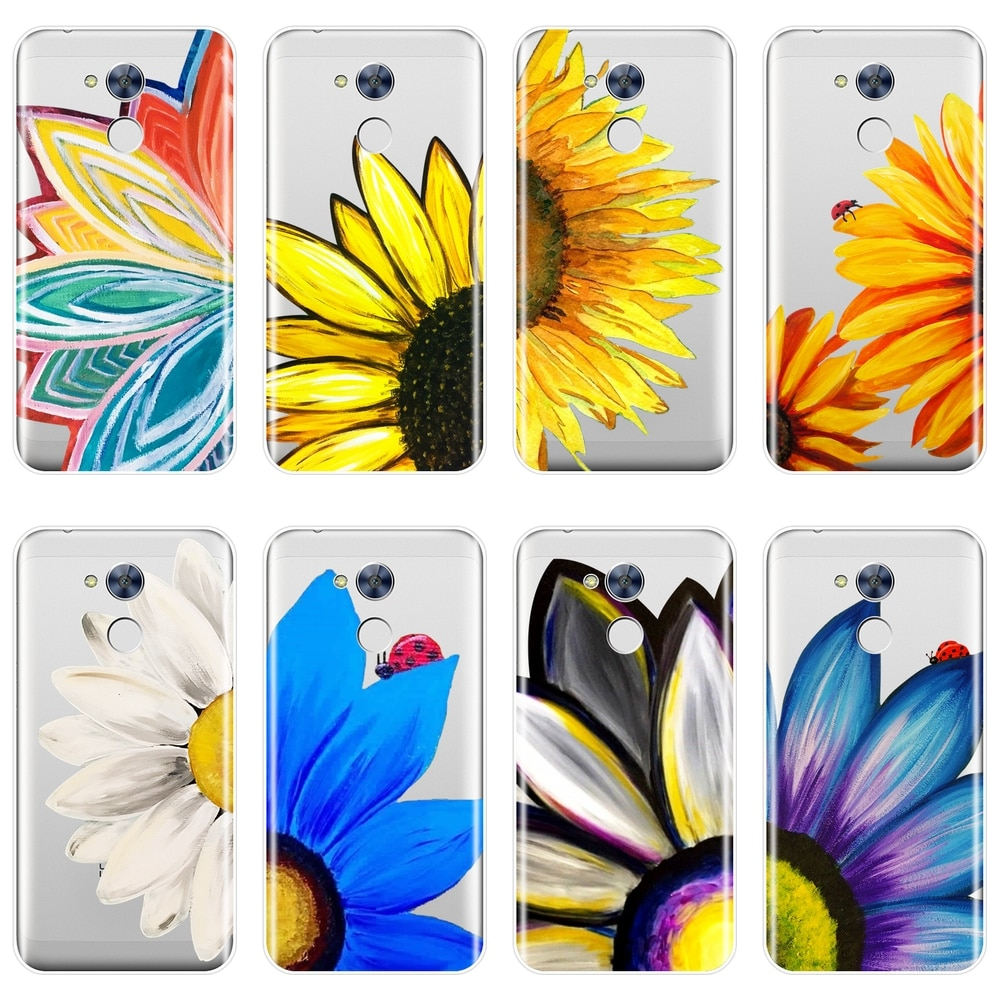 Funda suave de silicona para Huawei Honor 4X 5A 5X 6 6X funda trasera amarilla girasol blanco Margarita para Huawei Honor 4C 5C 6C 6A Pro