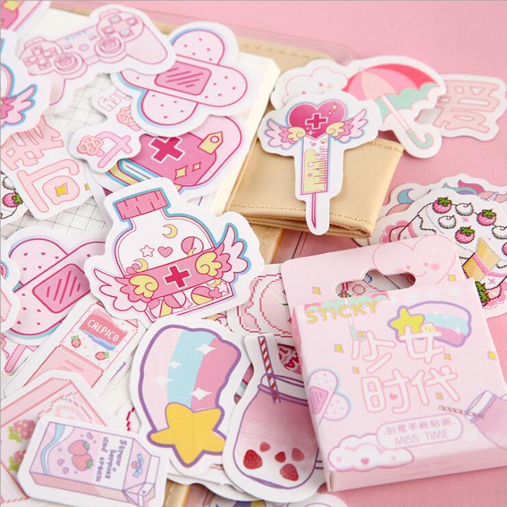 46 unidades/pacote meninas rosa scrapbooking planejador totem adesivos para casa fita decorativa papel adesivo papelaria meninas presente de aniversário