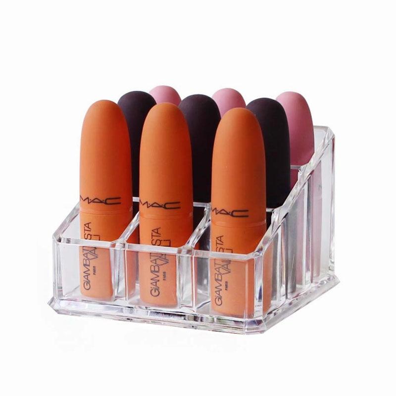 Caja expositora de mallas cosméticas, caja de almacenamiento de maquillaje, estuche para pintalabios, estuche para joyería, organizador de maquillaje acrílico, caja de almacenamiento, 9 unidades