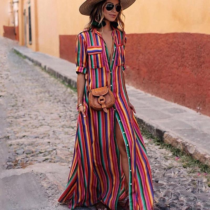 Vestido camisero largo informal a rayas para mujer, novedad del 2019 en vestidos Maxi de playa de manga corta, vestido Vintage bohemio para fiesta